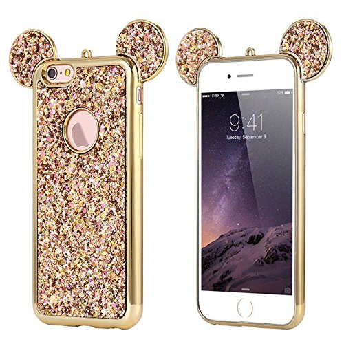 - AccessoryHappy Glitter Mickey Ears Case, Luxury Creative TPU Bling Crystal Rhinestone Sparkle Glitter Diamond Case Cover Compatible with iPhone 6 Plus 6s Plus [5.5