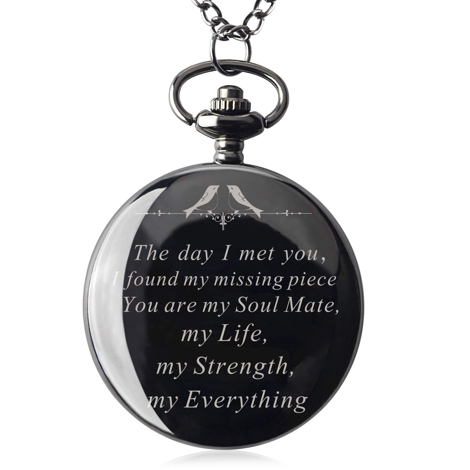 Mens Engraved Gifts for Valentine's Day, Anniversary Birthday Graduation Christmas Personalized Mechanical Pocket Watch with Gift Box (The Day I met You) by Ginasy (Image #1)