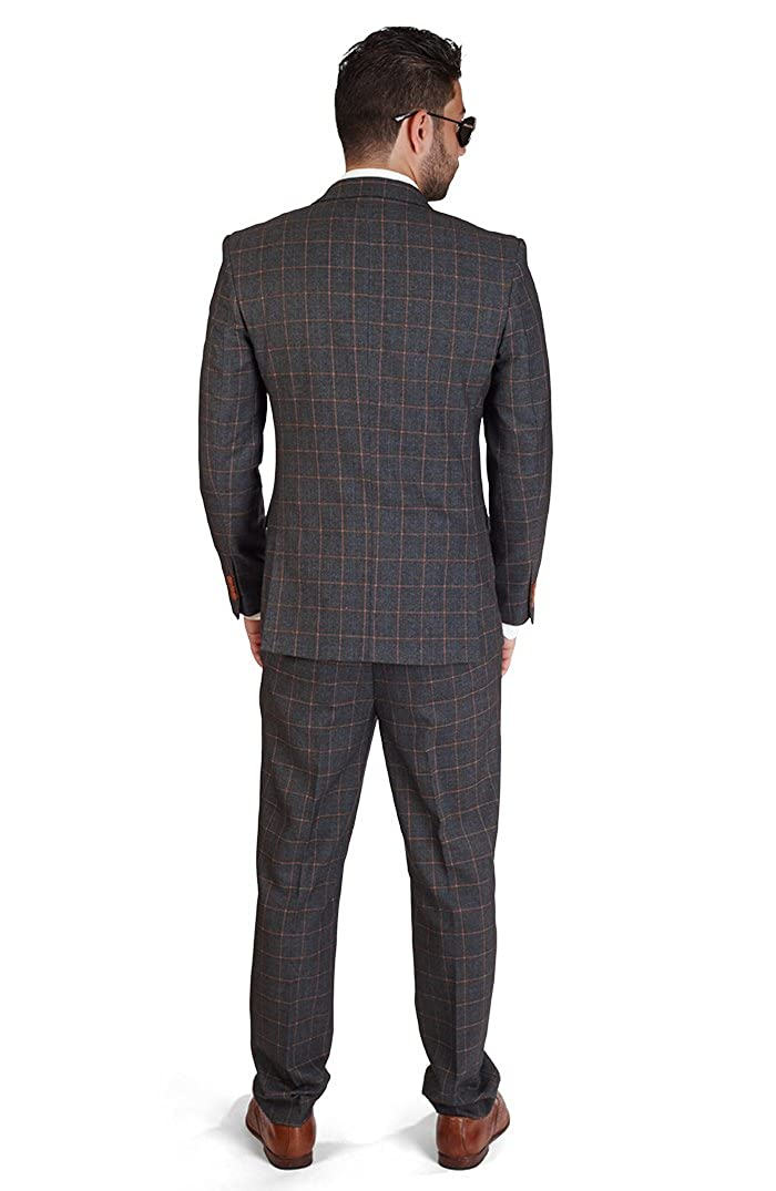AZAR MAN Slim Fit Plaid Windowpane 2 Button Peak Lapel Suit