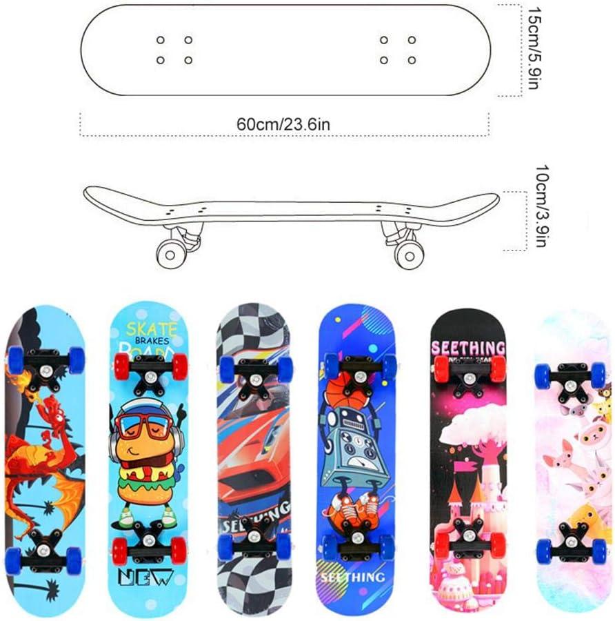 Beginners Fire Breathing Dinosaur 4 Wheel Skateboards with 7 Layers Maple Board /& Double Rocker for Outdoor Extreme Sports Womdee Children Skateboard 23.6 inch Complete Skateboards for Kids