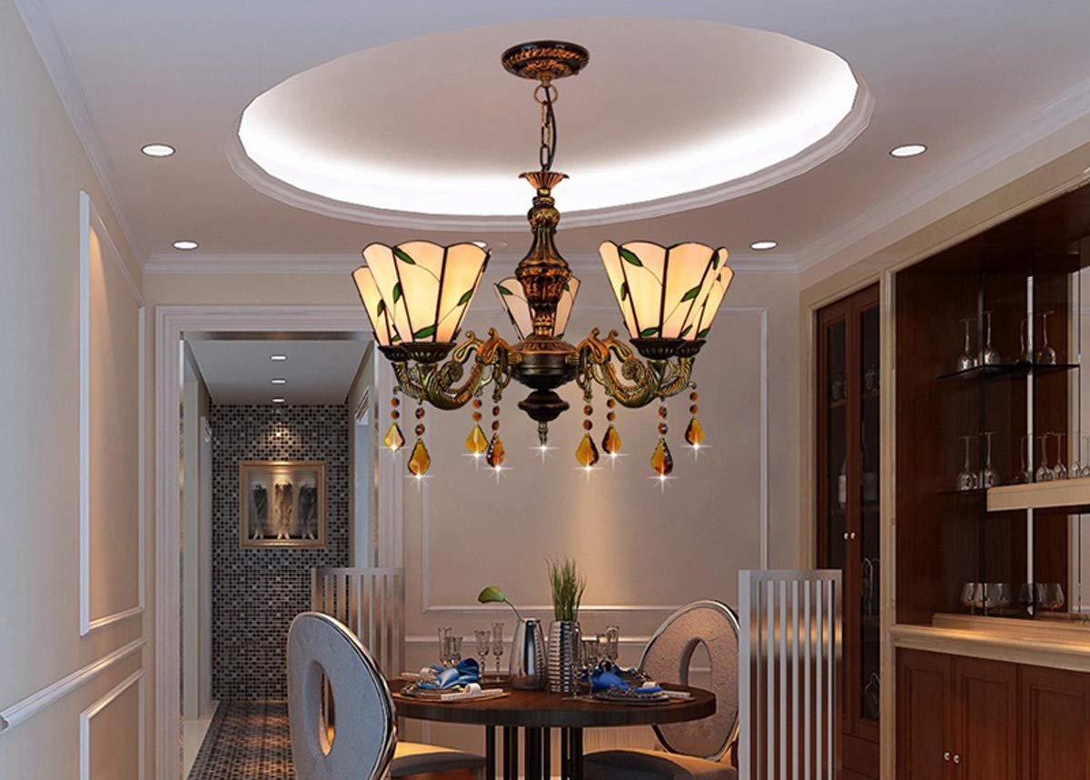 GDLight Tiffany Style Chandeliers, Retro 5 Heads Stained Glass Pendant Lights Living Room Bedroom Inverted Ceiling Pendant Lamp