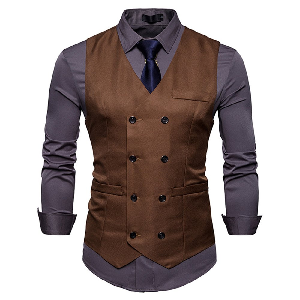 NiuZi Men's Vintage Slim Fit Solid Color Double-Breasted Suit Vest V-Neck Dress Waistcoat For Wedding Nightclub (Coffee, M)