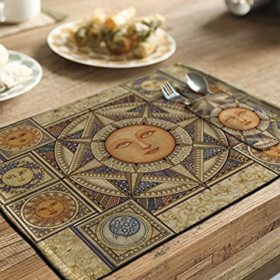 yazi Country Rustic Placemat Kitchen Dining Table Decoration Cotton Linen Heat Insulation Pad Fabric Doilies 4 PCS Helios