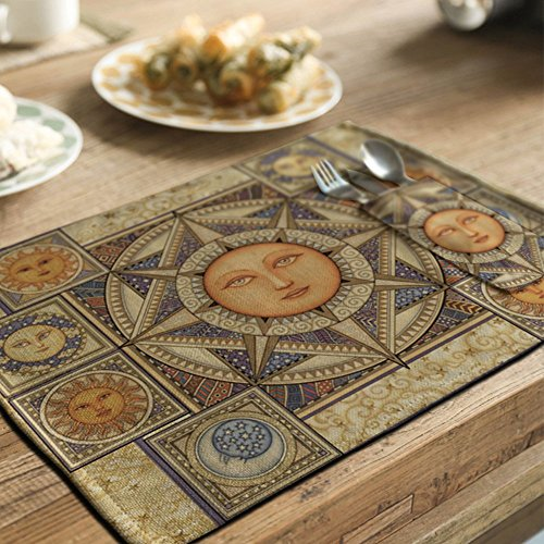 yazi Country Rustic Placemat Kitchen Dining Table Decoration Cotton Linen Heat Insulation Pad 1pc Helios