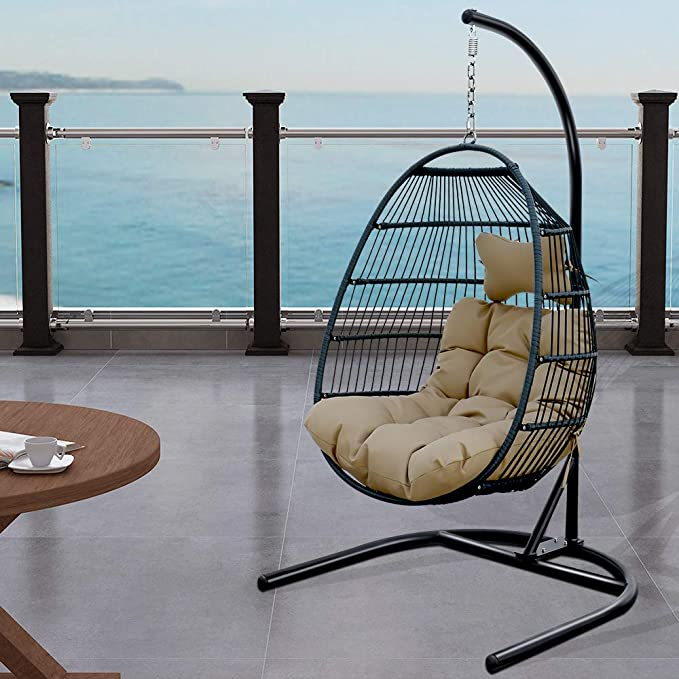 Tome Foldable Swing Chair With Stand Rattan Wicker Hanging Egg Chair Hammock Chair With Cushion And Pillow For Indoor Outdoor Bedroom Patio Garden Garden Outdoor