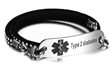 8ff9e09da22ca JF.JEWELRY Type 2 Diabetes Medical Alert ID Bracelet with 3 Layers of  Velvet Leather Link,7.5 inch