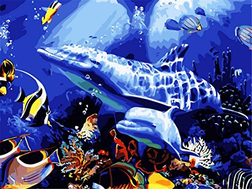 Underwater Sea Fish Paint By Numbers Kits For Adult Kids DIY Painting By Number For Home Wall Decor,16