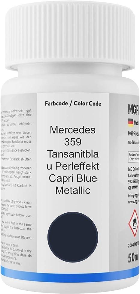Mg Prime Autolack Lackstift Set Für Mercedes 359 Tansanitblau Perleffekt Capri Blue Metallic Basislack Klarlack Je 50ml Auto