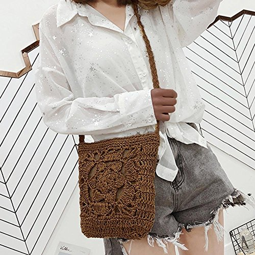 Coffee Bags Braid Vintage Bag Crochet Messenger Shoulder Summer YouN Beige Girls Women qxI0w0XaP
