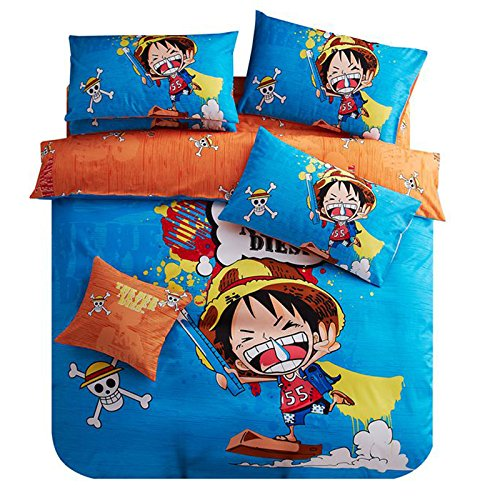 memorecool home textile japanese popular anime one piece luffy cartoon bedding set cute luffy. Black Bedroom Furniture Sets. Home Design Ideas