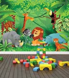 Jungle Zoo Animals Wall Mural Photo Wallpaper Safari Kids Bedroom Nursery (Large 1500mm x 1150mm)