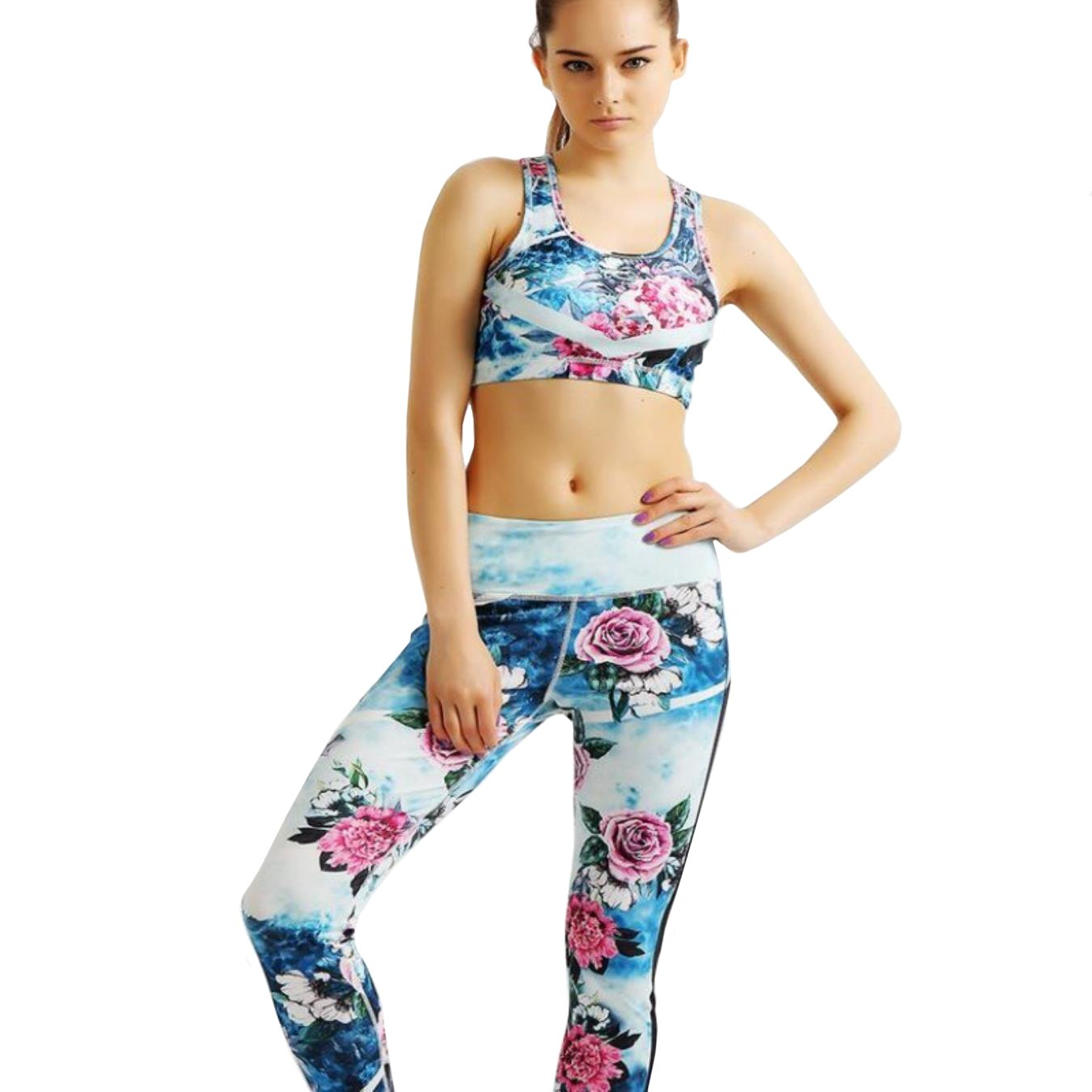 TUONFC Women Yoga Bra Pants Set Sport Fitness Push Up Tights Quick Drying Compression Trousers Sets