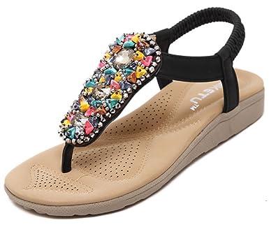 SHOWHOW Damen Weich Profilsohle Keilabsatz Zehentrenner Sandalen