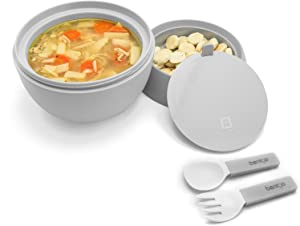 Bentgo Bowl (Gray) – Insulated, BPA-Free Lunch Container with Collapsible Utensils Set – Leakproof Bowl Holds Soups, Stews, Noodles, Hot Cereals & More On-the-Go