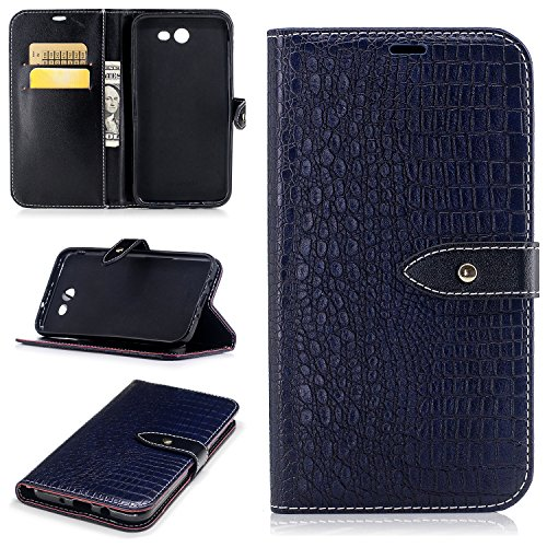 Price comparison product image Wallet Leather Flip Case Cover for Galaxy J7 V, J7 Perx, J7 Sky Pro with [Tempered Glass Screen Protector],  Crocodile Grain Case with Kickstand,  Embedded Durable Buckle Phone case for J7 2017-Deep blue