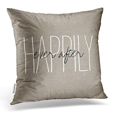 Emvency Square 20x20 Inches Decorative Pillowcases love rustic chic happily  ever after lumbar pillow Cotton Polyester 4bcfd7530