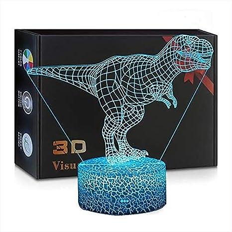 Dinosaurio 3D Luz de Noche Holograma Proyector Escritorio Mesa ...