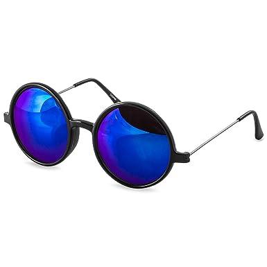 CASPAR SG038 große runde Retro Lennon Sonnenbrille / Rundbrille / Hippi Brille / Nickelbrille - Übergröße , Farbe:silber / silber verspiegelt