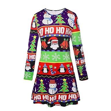 Omiky® Weihnachtsdruck-Schwingen-Kleid-Dame-Weihnachtslange Hülse ...
