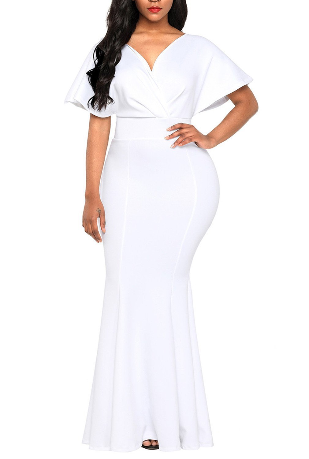 Dokotoo Womens Special Occasion Off Shoulder Short Sleeve V Neck High Waist Fishtail Evening Formal Gowns Maxi Prom Dress for Party Cocktail White