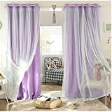 SearchI Mix and Match Curtain Blackout Curtains Panel Pink and Tulle Lace White Sheer Curtains for Nursery with Grommet Top 1 Panel, 42W x 63L Inch