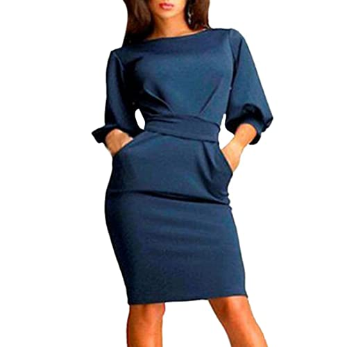 Sunward New Women's Slim Bodycon Half Sleeve O-neck Party Office Business Dress