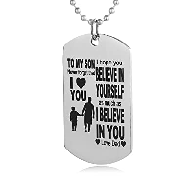 Amazon fayerxl my son dog tag from dad mens boys necklaces for fayerxl my son dog tag from dad mens boys necklaces for kids child teen love gift solutioingenieria Image collections