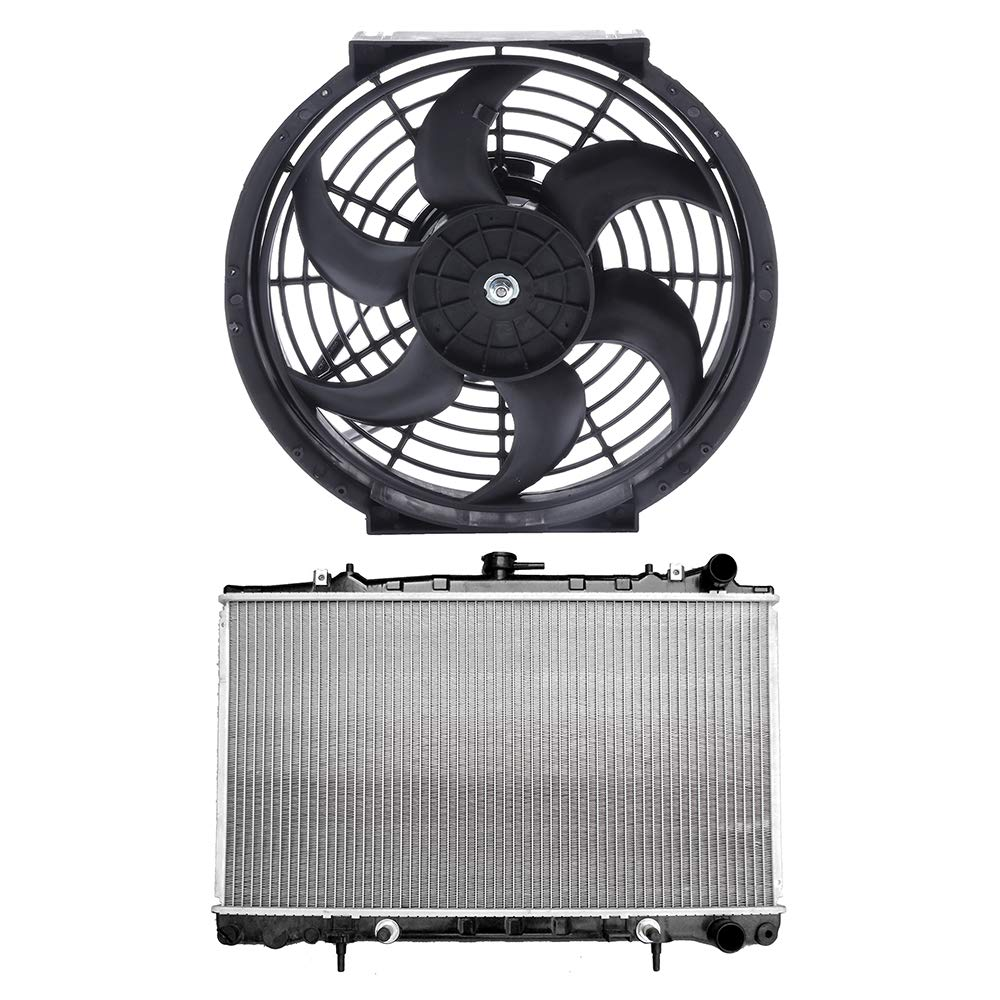 SCITOO Radiator+Cooling Fan Assembly Compatible with 1992-1994 Nissan 240SX 2.4L