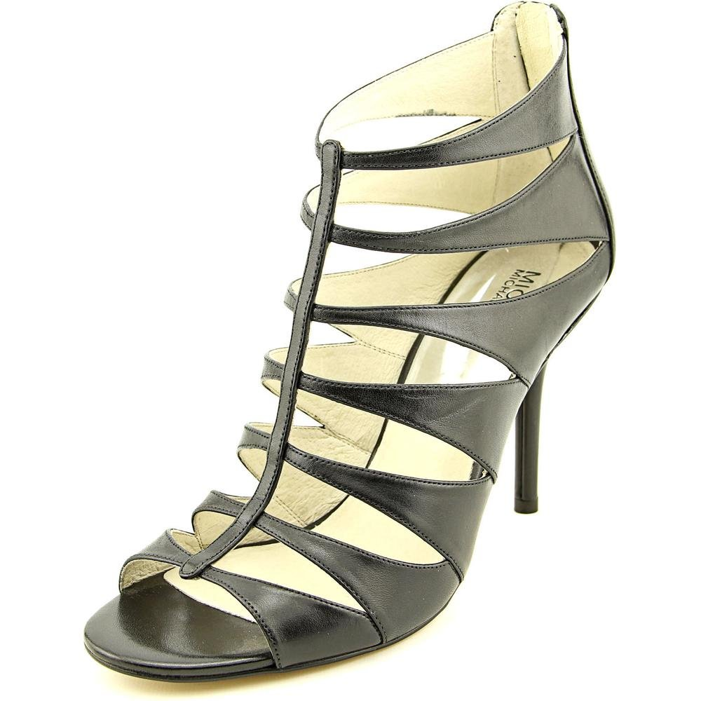 Michael Kors Mavis Open Toe Back Zip High Heel Black Leather Cage Style Shoe - size 9.5 by Michael Kors