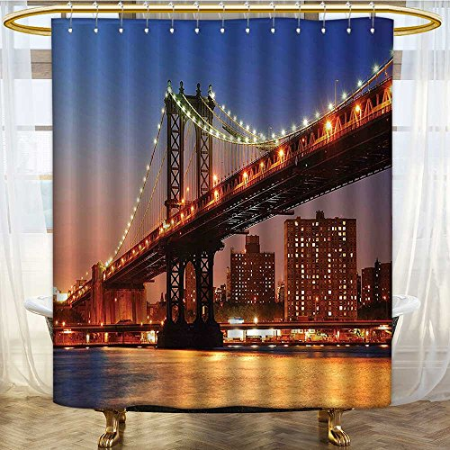 Shower Curtains with Shower Hooks Manhattan Bridge with Night Lights Over Hudson River Fabric Bathroom Set with Hooks W72 x H90 -
