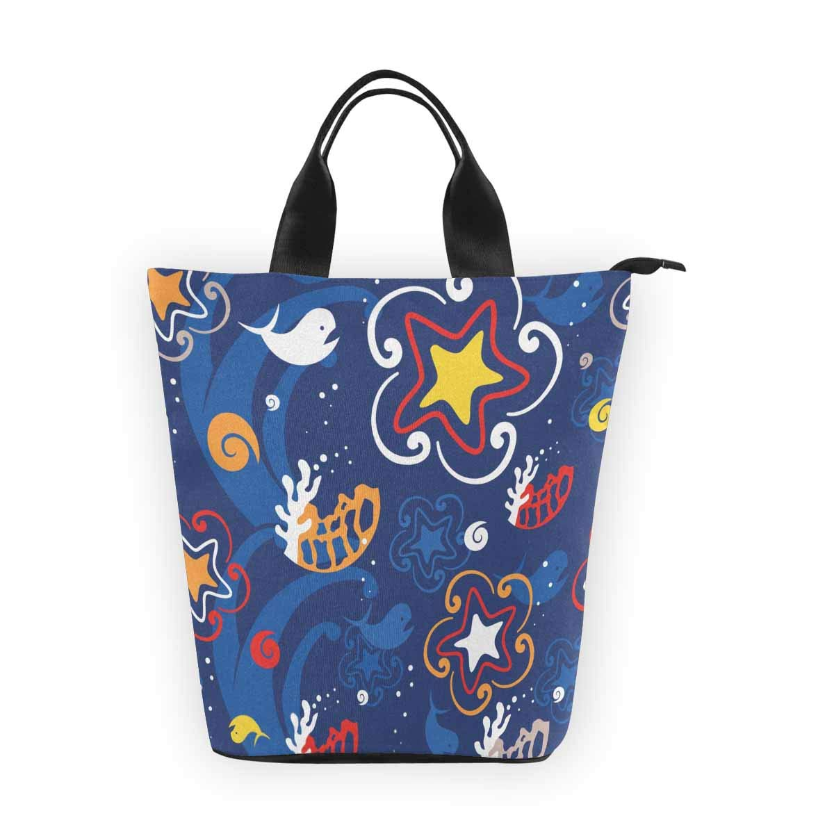 InterestPrint Nylon Cylinder Lunch Bag Sea Animals Whale Reusable Large Lunchbox Grocery Bag