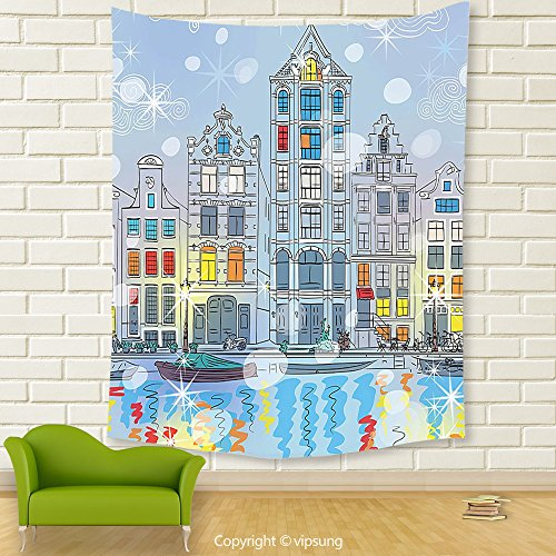 Vipsung House Decor Tapestry_Christmas Noel Time At Amsterdam Canal With Historical Famous Buildings North Europe Design Multicolor_Wall Hanging For Bedroom Living Room (Canal Panda Halloween)