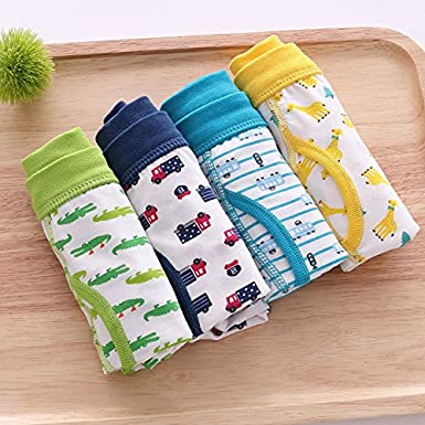 Yuntown Kid Boys Underwear Boxer Brief Shorts Cotton Soft Underpants 2-7Y 4 Pack