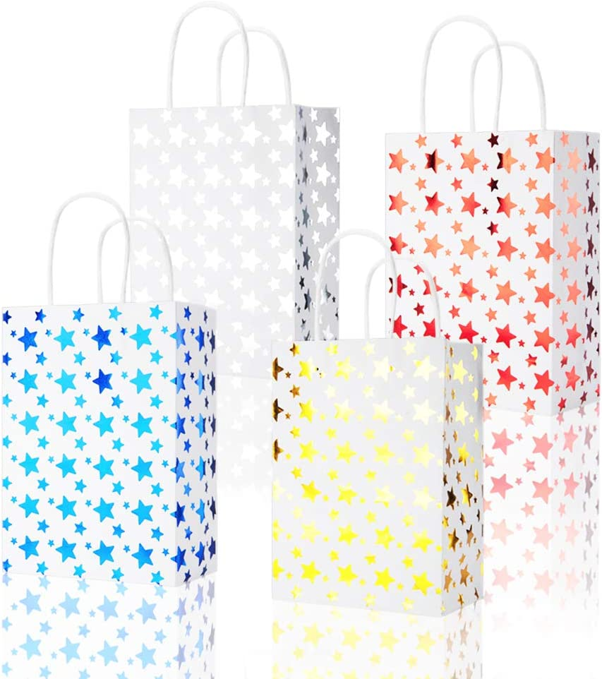 BTSD-home 36Pcs Star Party Favor Bags Paper Gift Bags with Handles Goodie Bags for Birthdays, Weddings, Baby Showers