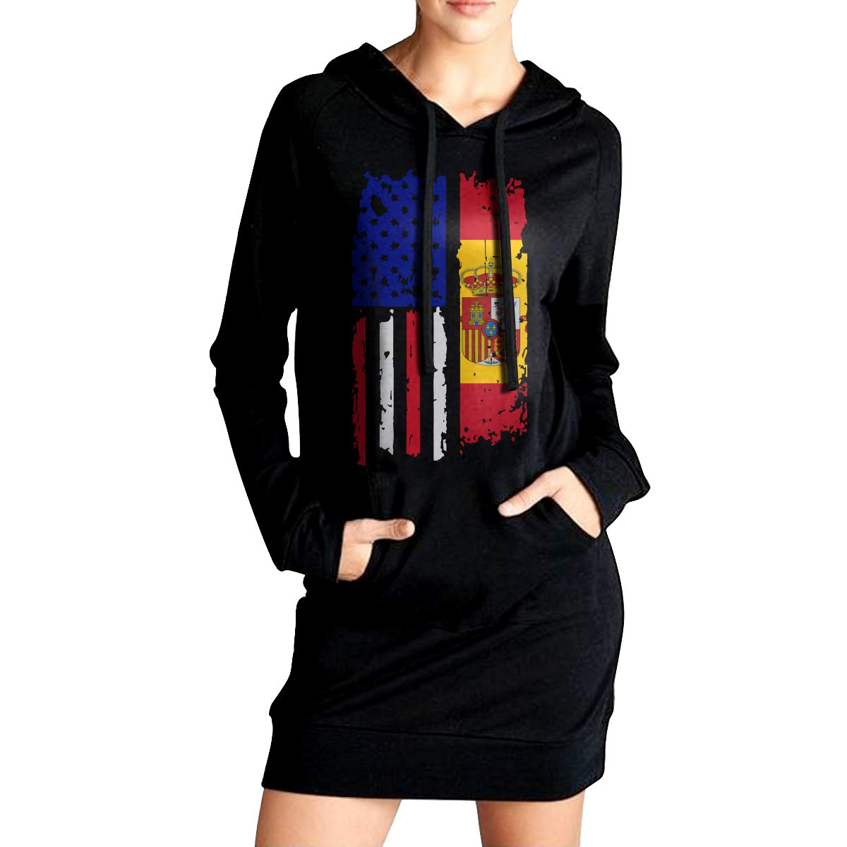 Sport Outwear with Kanga Pocket NVWEIYIJW Spain American USA Flag Pride Womens Pullover Fleece Long Hoodies Dress