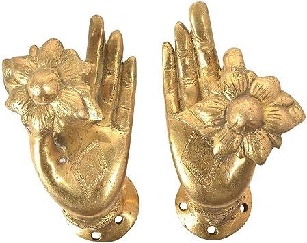 Antique Finish Buddha Hand Brass Door Handle Vintage Style Knob Pull Home Art