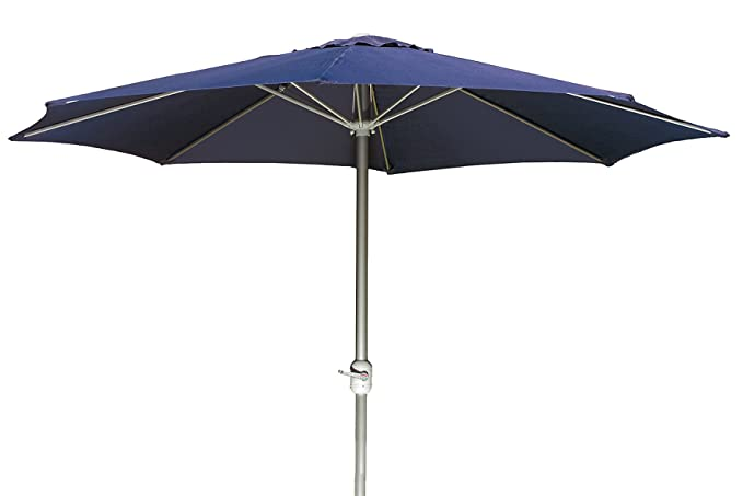 Parasol Ø 3m en aluminium et polyester avec manivelle bleu marine