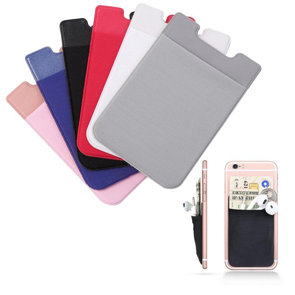 Jiamins Téléphone portable Retour Carte Portefeuille Grip Adhésif Autocollant Téléphone Portefeuille Téléphone Bâton sur Téléphone Retour (blanc)