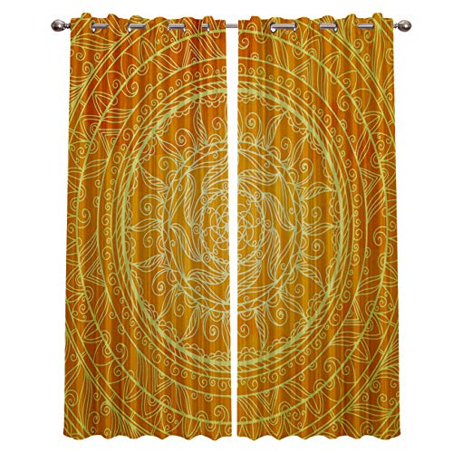 Yellow Abstract Egyptian Floral 2 Panels Set Window Curtains Blackout Curtains with Silver Grommet for Home Decor Darkening Window Covering Set for Bedroom Theatre/Living Room -