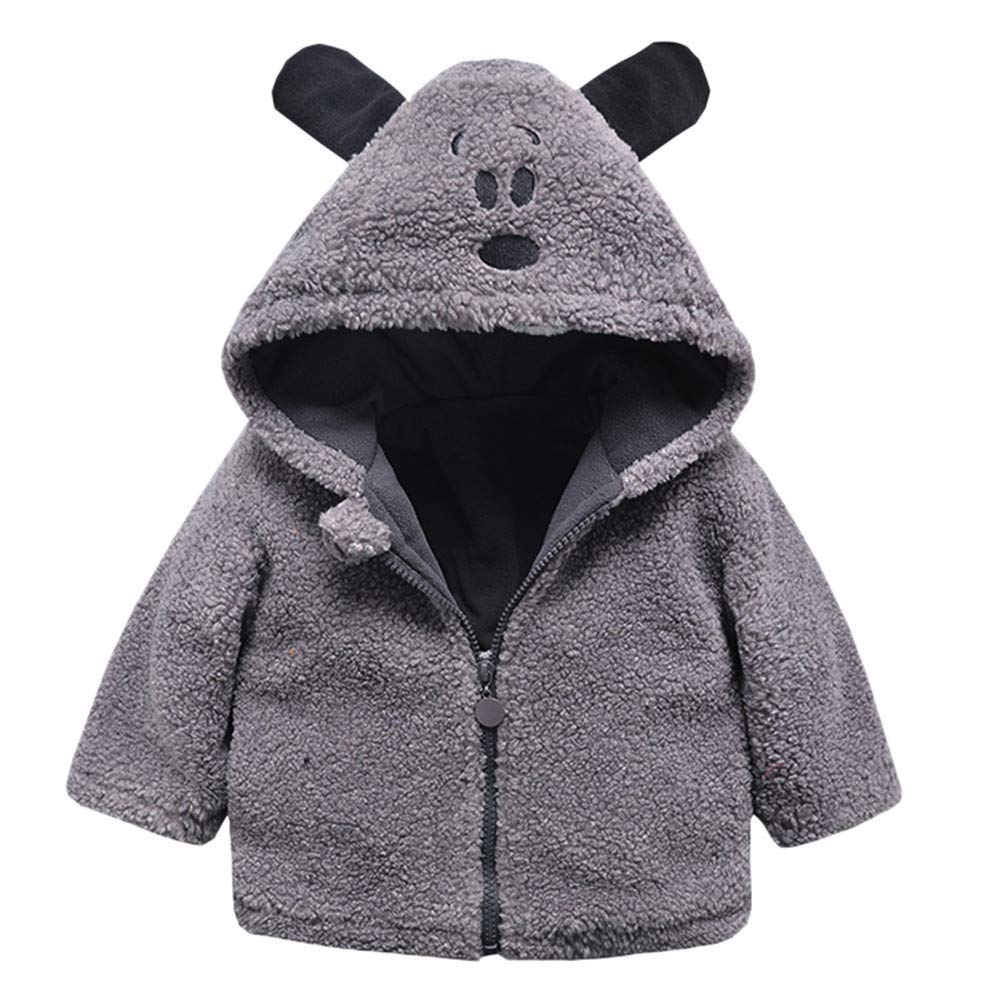 Baby Infant Girls Boys Autumn Winter Hooded Coat Cloak Jacket Thick Warm Clothes (Gray, 12-18Months)