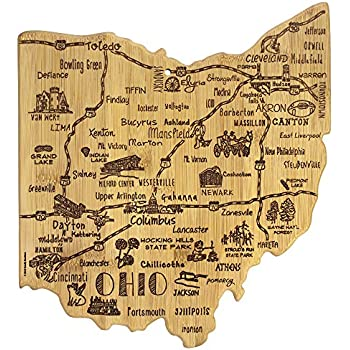 Totally Bamboo Destination Series Ohio State Shaped Serving and Cutting Board, Bamboo, 13.5