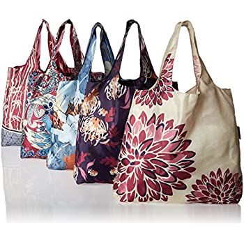 Envirosax Oriental Spice Pouch Reusable Shopping Bags (Set of 5), Multicolor