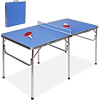 """GOPLUS 60"""" Portable Table Tennis Table Folding Ping Pong Table w/Accessories Indoor Game"""