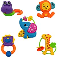 Jay Antiques Rattle Series Jungle Dost Toys, Animal Rattles Toys for Kids,Rattles Set for Babies, Toddlers, Infants, Child -Non Toxic 5 Pcs Lovely Colourful Rattle Toys Multicolor