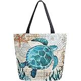 Naanle Ocean Turtle Canvas Tote Bag Large Women Casual Shoulder Bag Handbag, Sea Turtle Reusable Multipurpose Heavy Duty Shop