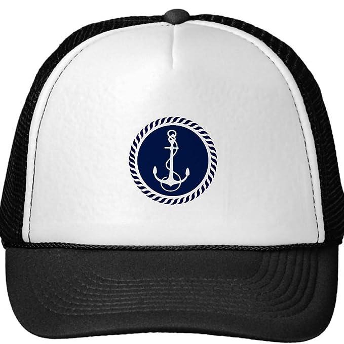 07760665ac356 Cute Navy Blue   White Nautical Boat Anchor 2 Trucker Hat Baseball ...