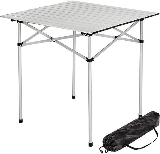 TecTake Mesa plegable enrollable de aluminio portátil camping ...