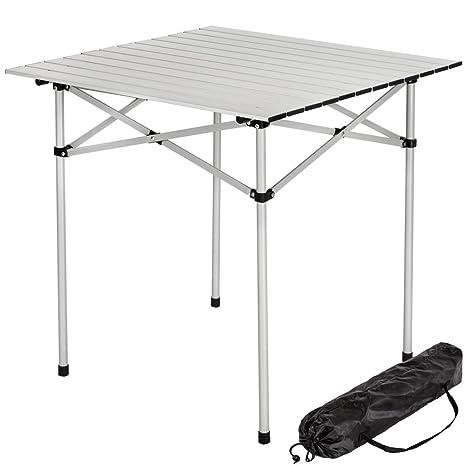 TecTake Mesa plegable enrollable de aluminio portátil camping multifuncional 70x70x70cm