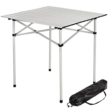 TecTake Mesa plegable enrollable de aluminio portátil camping multifuncional 70x70x70cm: Amazon.es: Deportes y aire libre