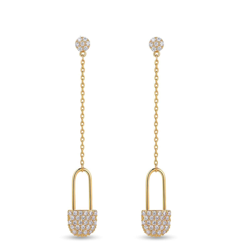 Adisaer 18k Gold Plated Dangle Earrings Daily Wear for Girls Gold Lock Earrings Drop White Cubic Zirconia